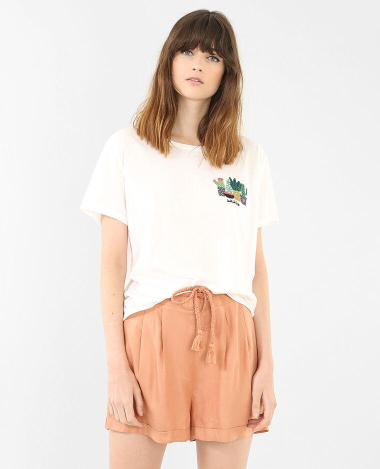T-shirt ricamo cactus bianco sporco