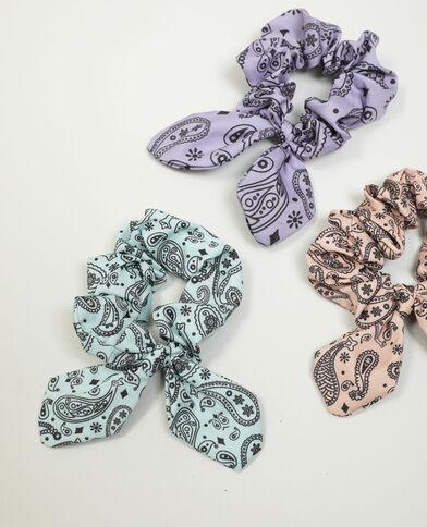 Lotto di 3 elastici con stampa cachemire rosa - Pimkie