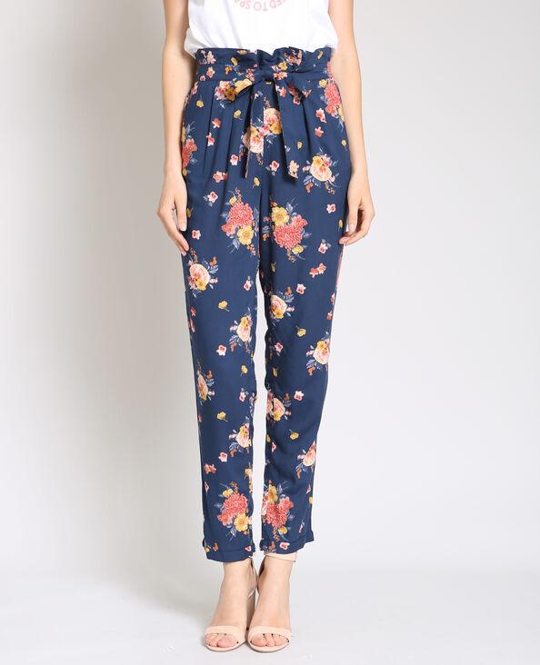 Pantalone morbido stampato blu marino