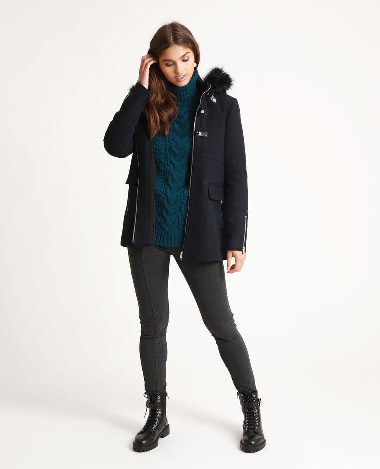 Cappotto con cappuccio blu marino