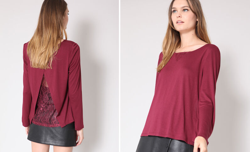 T-shirt in pizzo bordeaux
