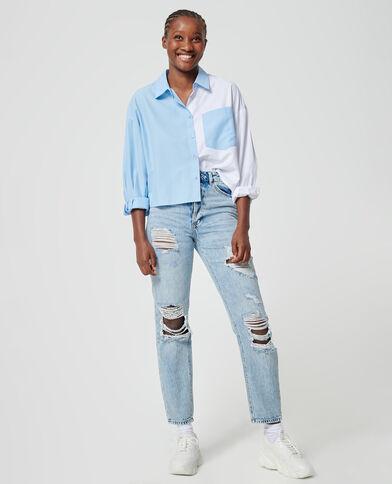 Jeans straight high waist destroy blu chiaro