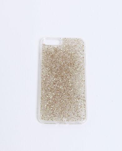 Custodia compatibile con iPhone con paillettes dorato