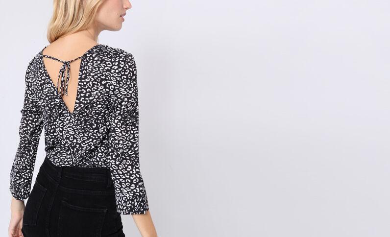 Blusa body leopardata nero