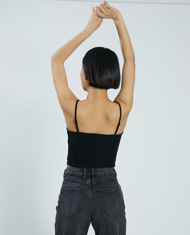 Brassière corsetto in pizzo nero - Pimkie