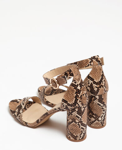 Sandali in finto pitone beige corda