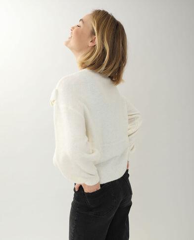 Pull ricamato bianco sporco