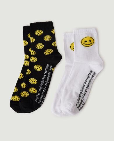 Lotto di 2 paia di calzini Smile nero - Pimkie