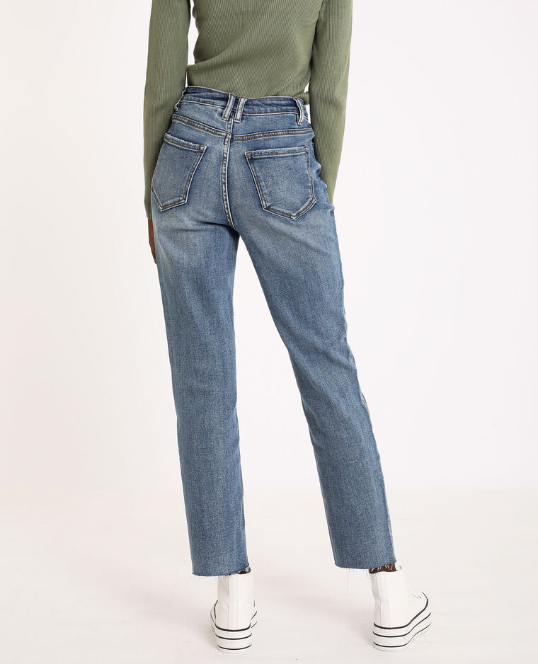 Jeans straight high waist blu denim