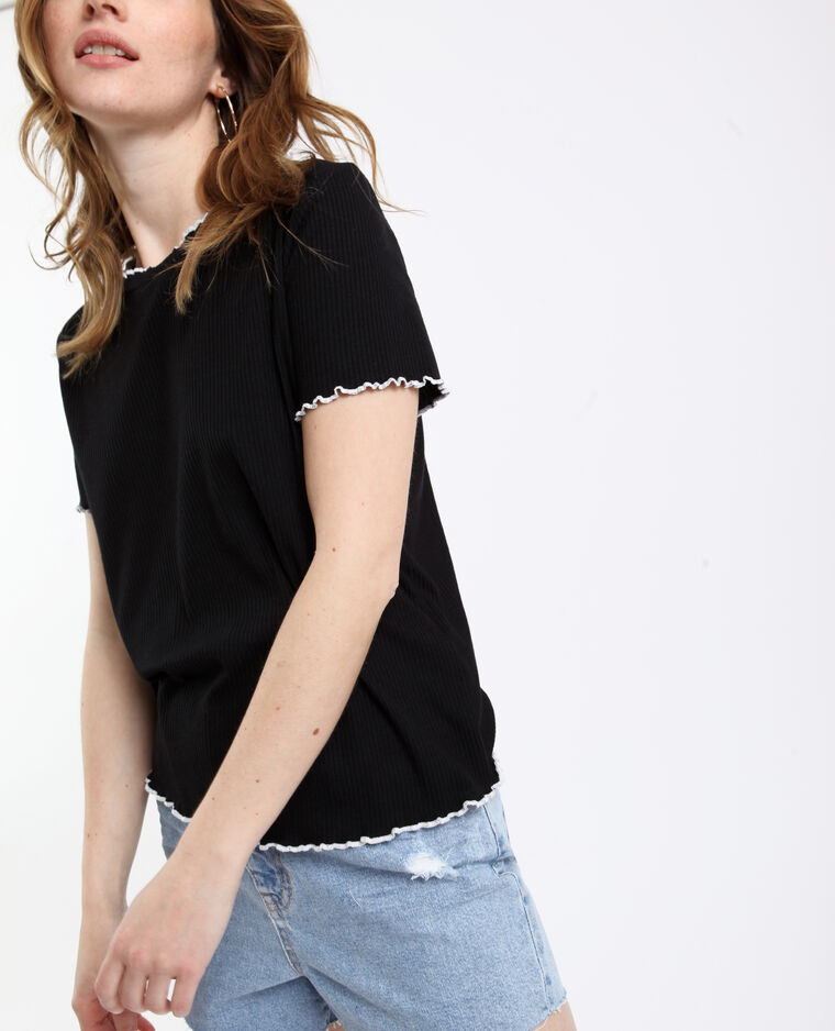 T-shirt a coste nero