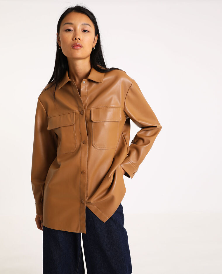 Camicia oversize in similpelle caramello