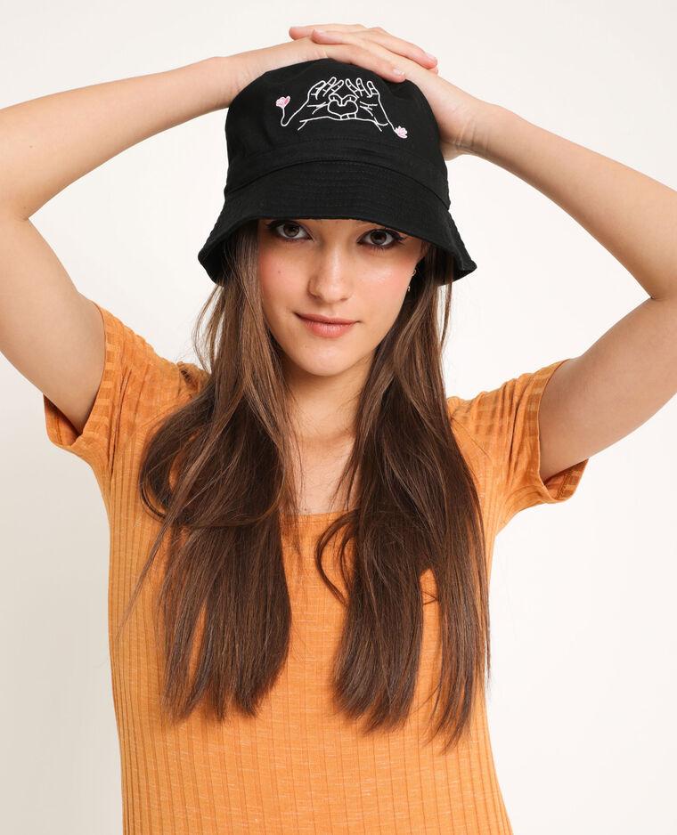 Cappello bob ricamato nero - Pimkie
