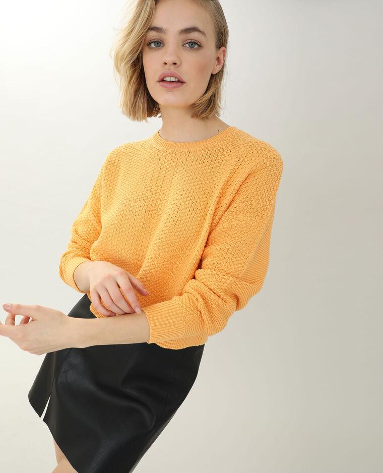 Pull in maglia con rilievo arancio