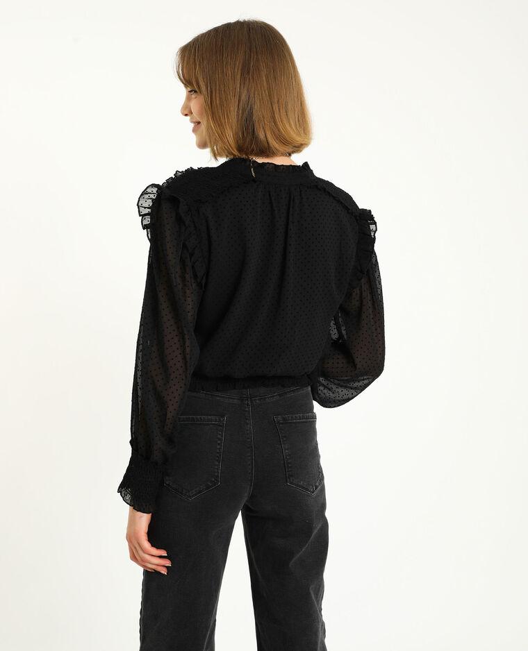 Blusa plumetis nero