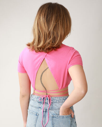 T-shirt cropped da annodare rosa - Pimkie