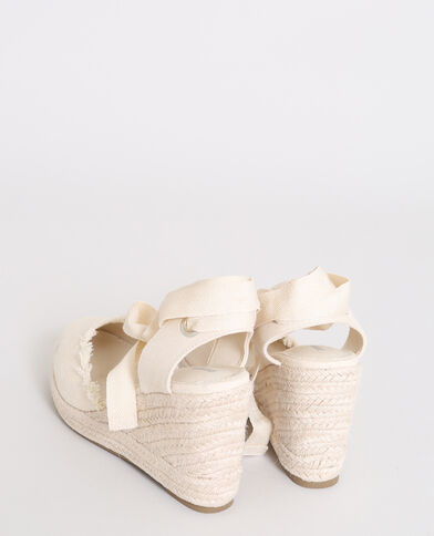 Sandali con la zeppa beige corda