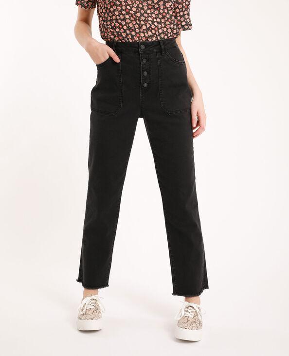 Jeans straight high waist nero