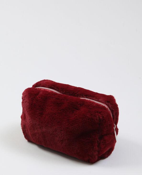 Trousse in pelliccia ecologica Granata