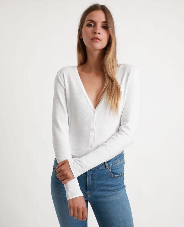 Cardigan in maglia con texture bianco sporco