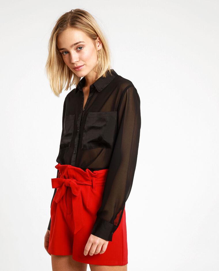 Camicia trasparente. nero