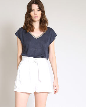 T-shirt in lino blu marino