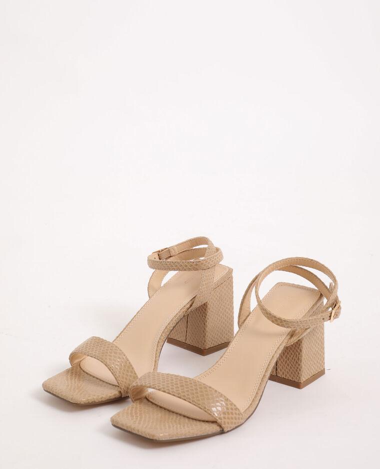 Sandali effetto coccodrillo beige