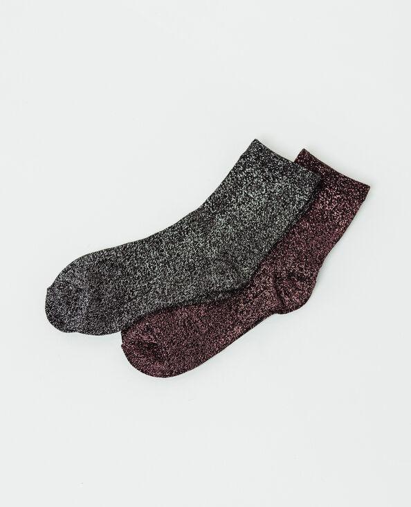 Lotto da due paia di calze lurex nero