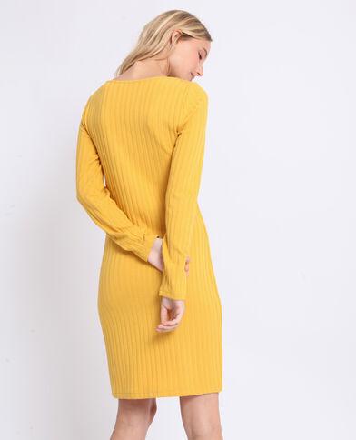 Abito in maglia a coste giallo