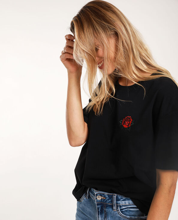 T-shirt con patch nero