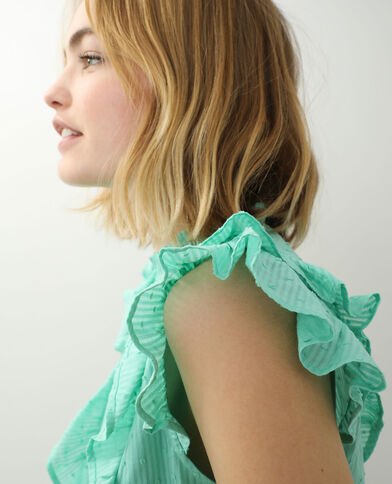 Blusa con plumetis e volant verde acqua - Pimkie