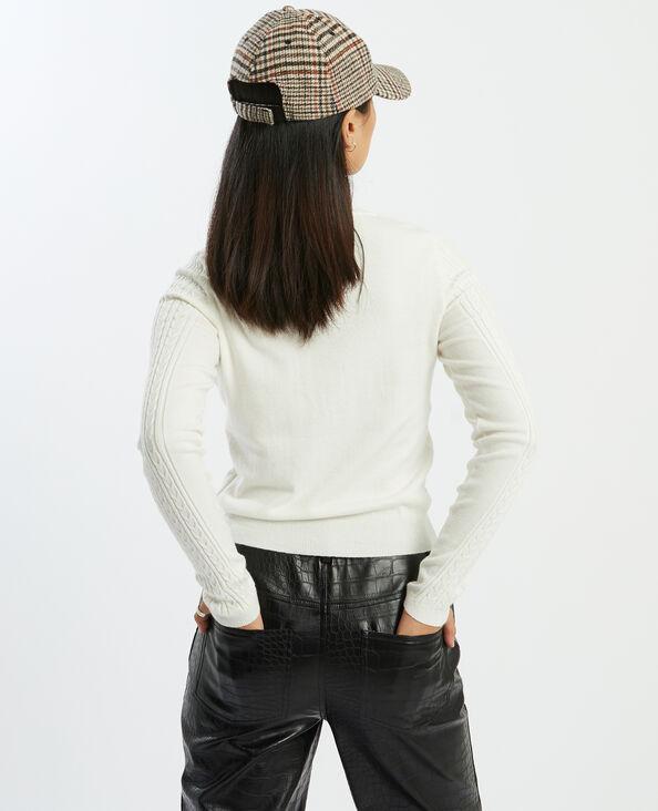 Cardigan in maglia con motivi a intreccio bianco sporco - Pimkie