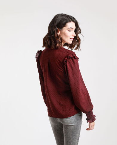 Blusa in plumetis bordeaux