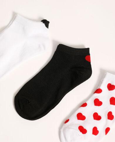 Lotto di 3 paia di calzini bassi con cuori granata - Pimkie