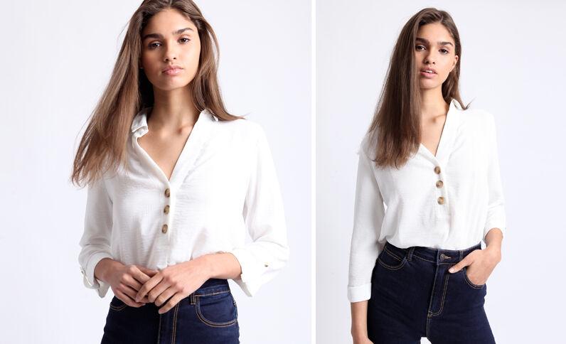 Camicia con bottoni bianco sporco