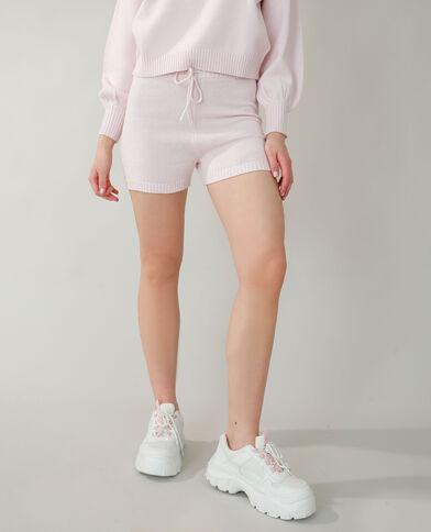 Short all'uncinetto rosa cipria
