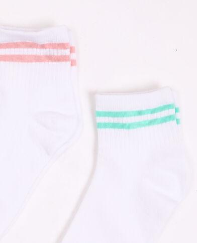 Lotto da 2 paia di calzini a righe bianco