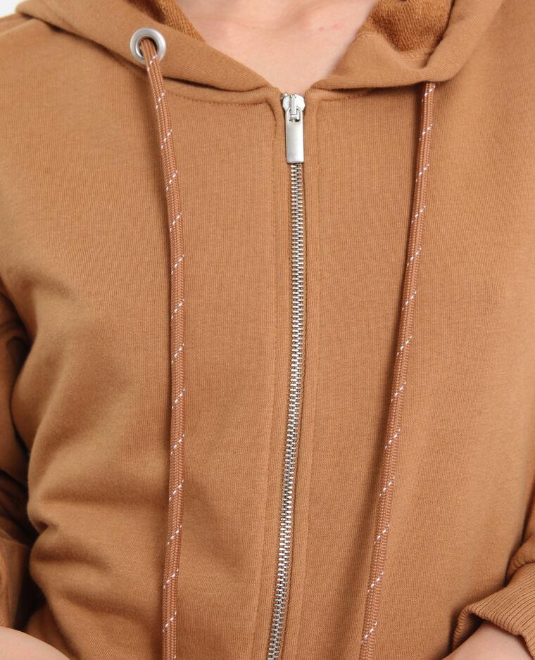 Cardigan con cappuccio marrone