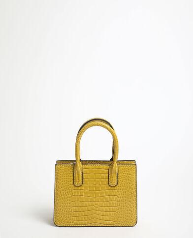 Mini borsa effetto coccodrillo giallo