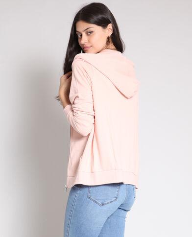 Felpa con zip rosa