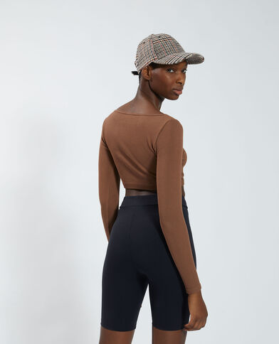 T-shirt cropped a coste marrone - Pimkie