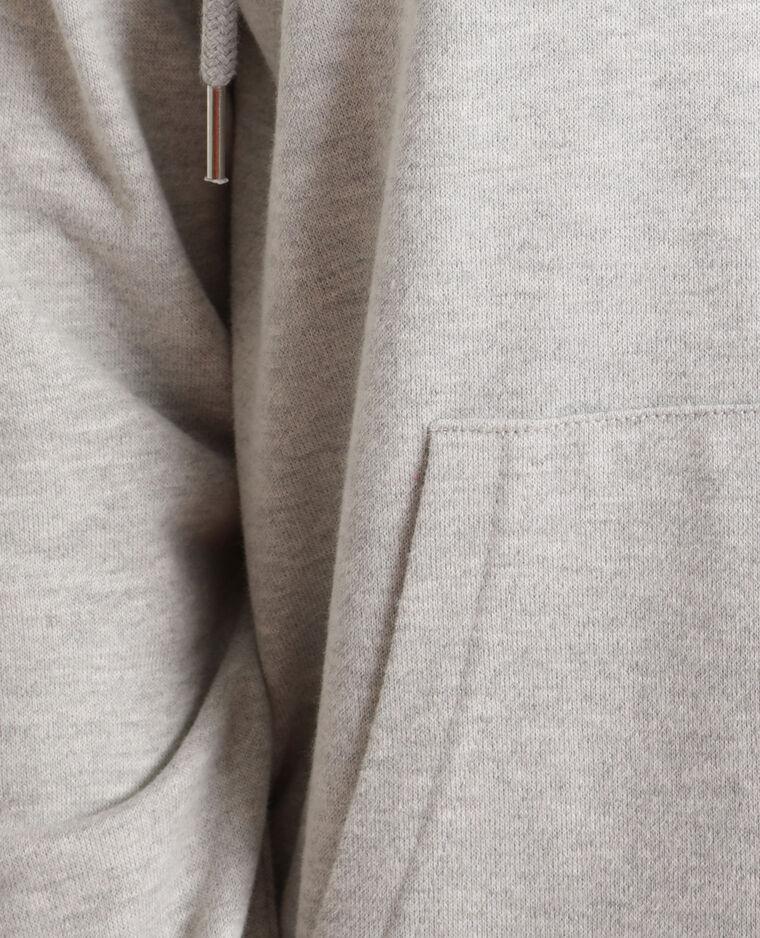 Felpa con cappuccio a zip. grigio chiné