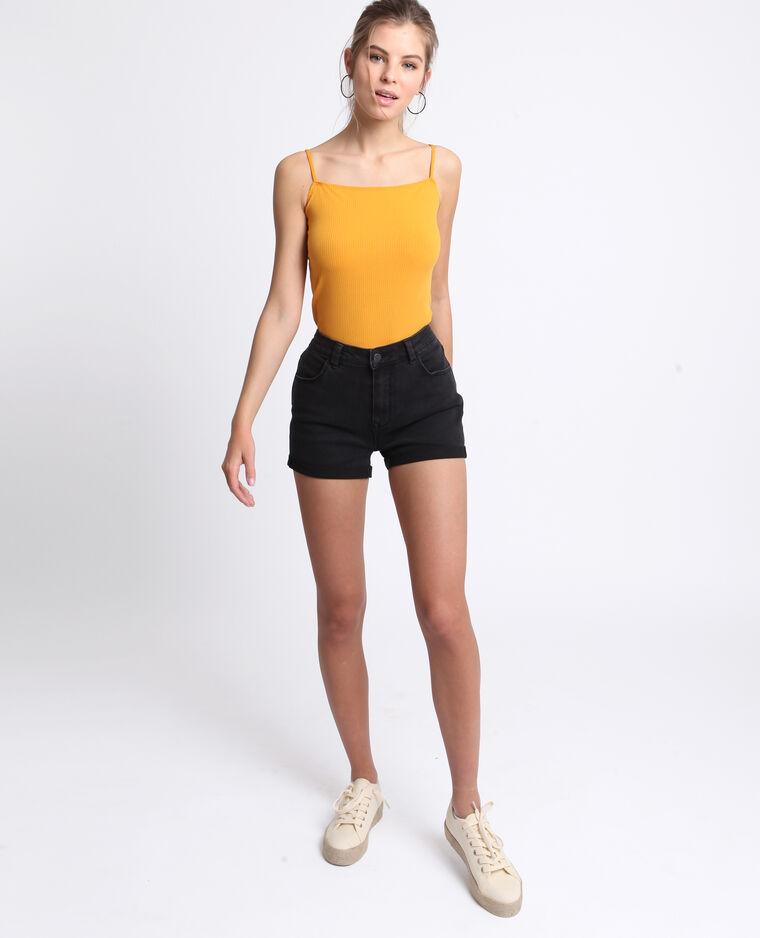 Body in maglia a coste giallo