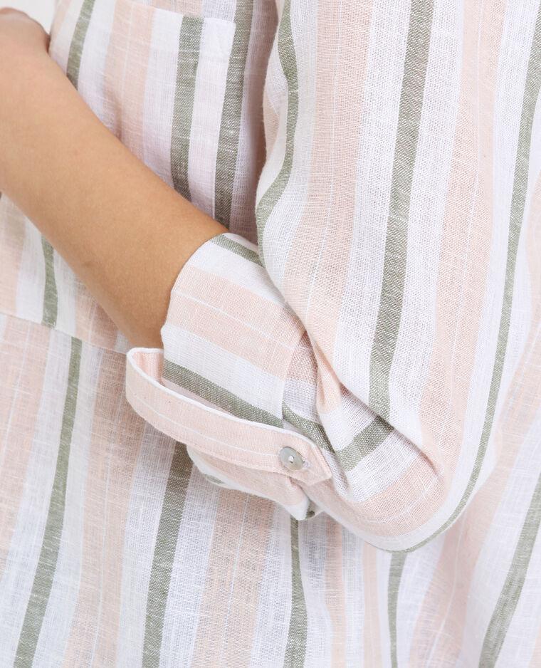Camicia a righe kaki