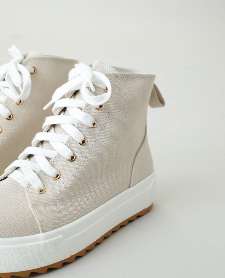 Scarpe da tennis alte con plateau beige - Pimkie