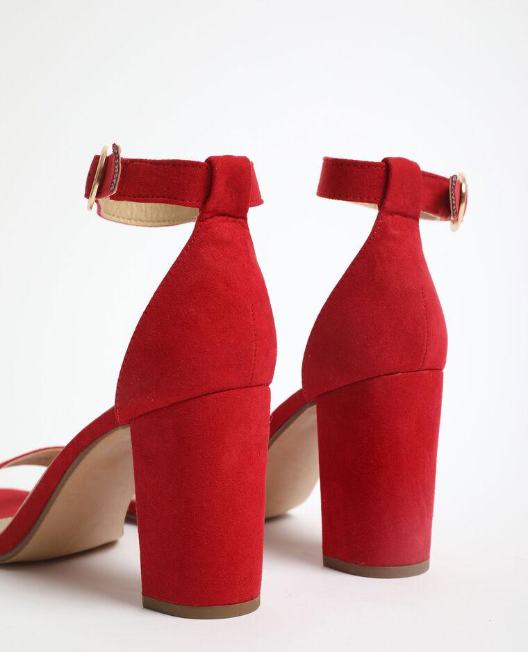 Sandali con tacchi in microfibra mattone