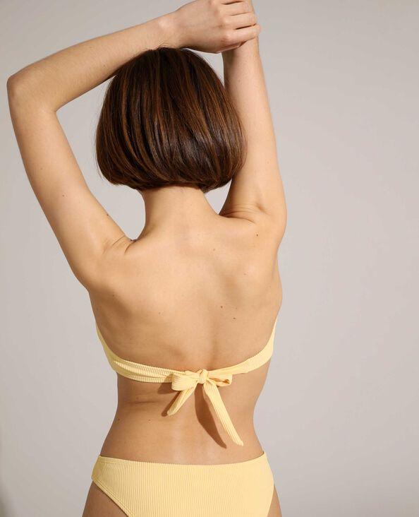 Pezzo sopra di costume da bagno a fascia a coste giallo pallido