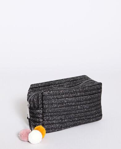 Trousse per il trucco con pompon nero
