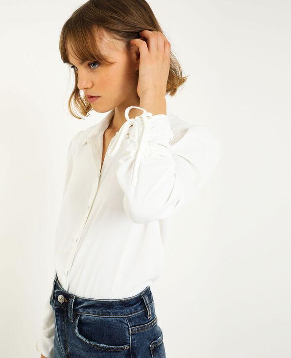 Camicia con maniche risvoltabili bianco sporco
