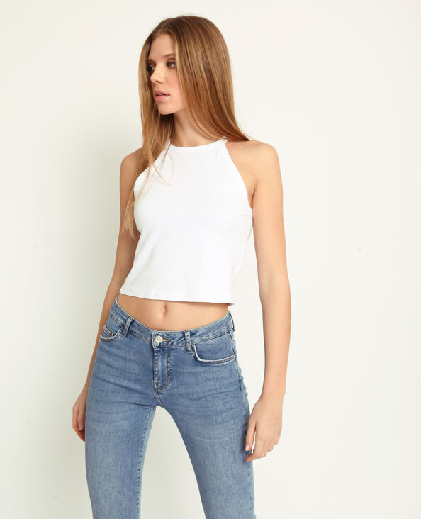 Top cropped tinta unita bianco