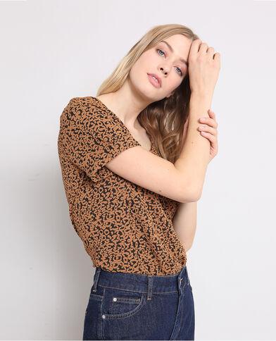 T-shirt stampa animali marrone